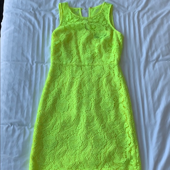 J. Crew Dresses & Skirts - Neon yellow J. Crew lace dress size 2